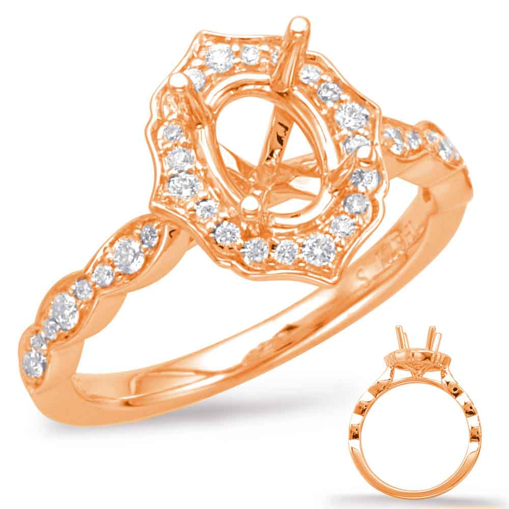 Rose Gold Halo Enement Ring